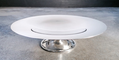 Alzata centrotavola CHRISTOFLE design Luc LANEL silver plated. Francia, Metà Novecento