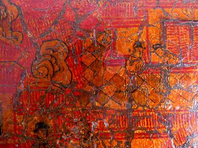 Bauletto cinese in legno e pelle dipinta. Cina, Novecento