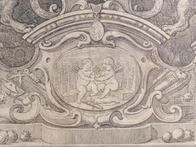 Antiporta figurata di volume pubblicato a Torino nel 1737, acquaforte raffigurante gli stemmi coronati delle case Savoia e Lorena, realizzata da Joseph A. PRENNER Torino Italia, 1737