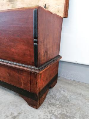 Cassapanca/madia in pioppo massello laccato e dipinto, originale d