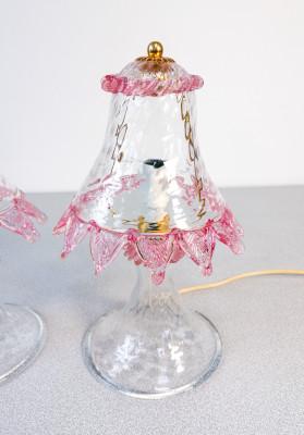 ?? COPPIA ABAT JOUR LAMPADA VETRO SOFFIATO MURANO FIORI FOGLIE VENEZIA GLASS ART