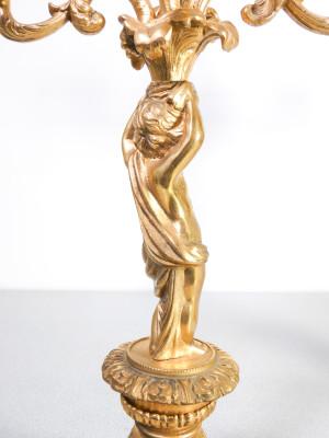 Coppia di candelieri stile Luigi XVI in ottone. Italia/Francia, Novecento