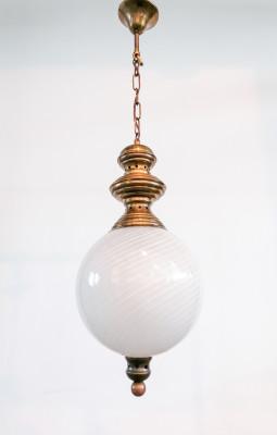 Coppia di lampadari design Luigi CACCIA DOMINIONI per AZUCENA vetri con filigrana a RETICELLO. Italia, Anni 50