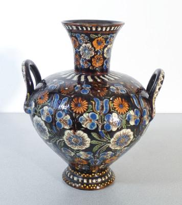 Coppia di vasi ad anfora biansata THOUNE Majolica in terracotta dipinta con colori a smalto. Heimberg Svizzera, 1870-80