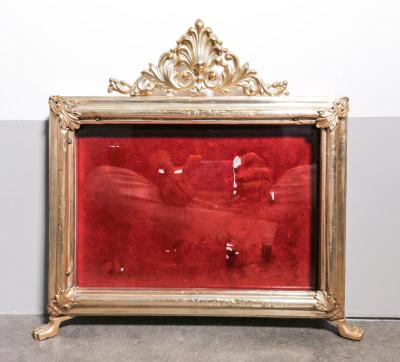 Cornice cartagloria, espositore ex voto in metallo e legno. Italia, Ottocento