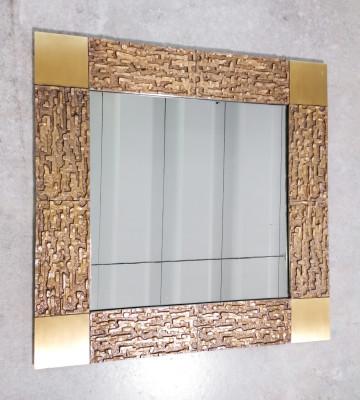 Cornice in ottone con specchio, design Luciano FRIGERIO, serie Désirée. Italia, Anni 70