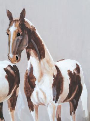 Dipinto ad acquerello firmato PICCHI raffigurante una Coppia di cavalli. Italia, Novecento