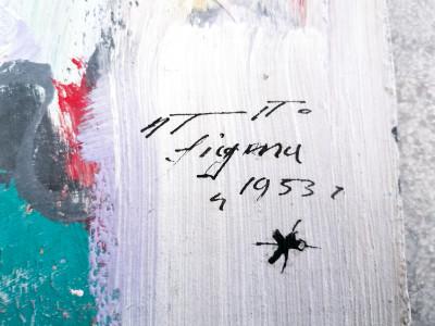Dipinto astratto firmato Adriano TUNINETTO Senza titolo, olio su tavola. Italia, 1953