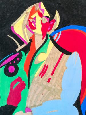 Dipinto in stile cubista a firma Agostino SCROFANI Figura di nudo. Italia, 1966