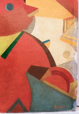 Dipinto futurista, attribuito a FILLIA alias Luigi COLOMBO (1904-1936) Suonatore di Batteria (?) Italia, Anni 20