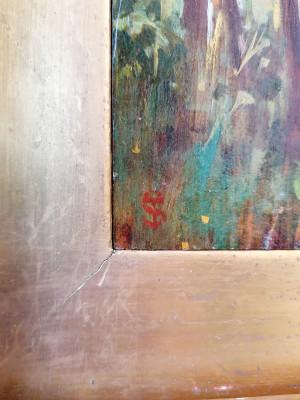 Dipinto a olio firmato con monogramma TS e attribuito alla mano di Telemaco SIGNORINI, in cornice d