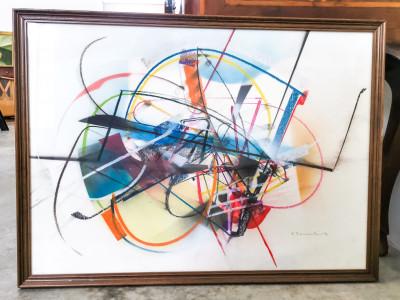 Dipinto astratto a firma Edoardo FRANCESCHINI Senza titolo Tecnica mista su carta. Italia, Novecento