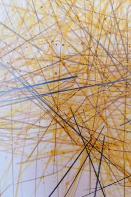 Dipinto geometrico, composizione astratta firmata CAVALIERI Italia, Aprile 1977