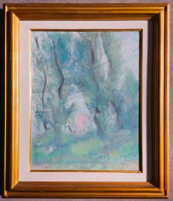 Dipinto a olio a firma Siro PENAGINI Bagnante fra i pioppi Lago Maggiore, Solcio, 1923