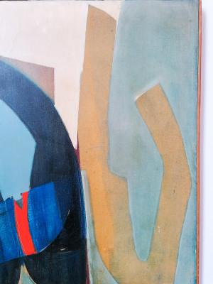 Dipinto olio su tela a firma Mimmo GUSMANO. Figura astratta. Italia, Anni 60