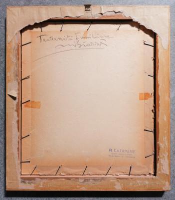 Disegno a firma Mario Natale BIAZZI Fraternità familiare matita su carta, Cremona, Primo Novecento
