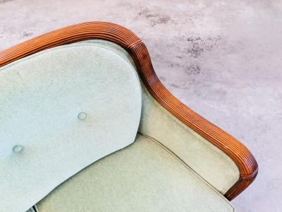 Divanetto da centro art decò inglese in legno di noce scolpito e grissinato. Inghilterra, Anni 30