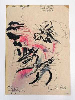 Dipinto in tecnica mista a firma Giorgio CELIBERTI Le farfalle non vivono nel ghetto. Italia, 1994