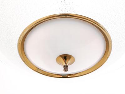 Lampadario di design Pietro CHIESA per FONTANA ARTE in vetro e ottone. Italia, Anni 40