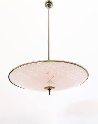 Lampadario di design stile FONTANA ARTE in vetro e ottone. Italia, Anni 40