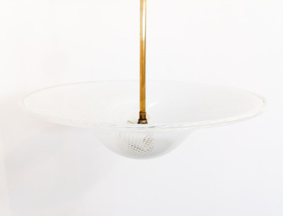 Lampadario di design Reticello Carlo SCARPA per Venini in vetro e ottone. Italia, Anni 40