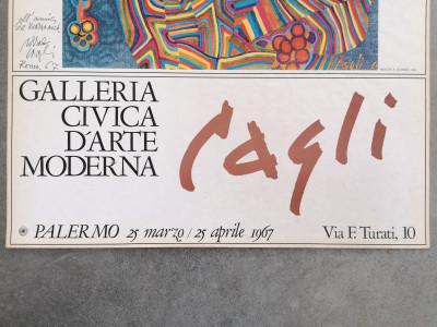 Manifesto AUTOGRAFATO della mostra di Corrado CAGLI, Galleria Civica d