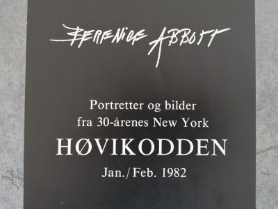 Manifesto della mostra di Brenice ABBOTT, Ritratti e fotografie della New York degli anni 30 Høvikodden Norvegia, 1982