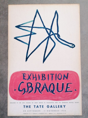 Manifesto della mostra di Georges BRAQUE, The Tate Gallery Londra, 1956