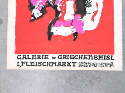Manifesto della mostra Josef BAUER Veronika LOUIS Minnigerode Galerie im GRIECHENBEISL Fleischmarkt. Vienna, 1968