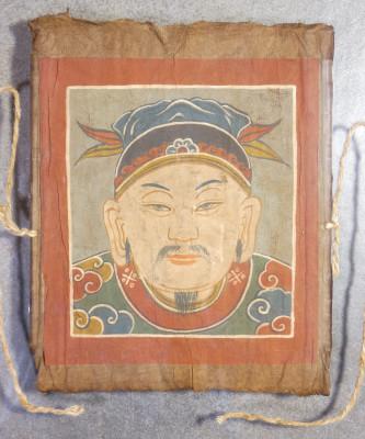 Serie di quattro maschere cerimoniali taoiste Yao dipinte su carta. In cornici a giorno. Cina del Sud Sudest asiatico, Secondo Ottocento