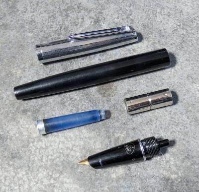 Penna stilografica AURORA 888P Duo-Cart corpo nero. Torino, Italia, Anni 60