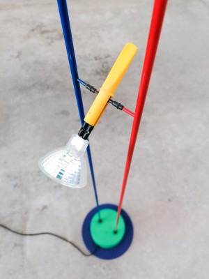?? PIANTANA DESIGN STILE MEMPHIS SOTTSASS LAMPADA DA TERRA FARETTI VINTAGE LAMP