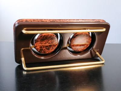 ?? PINEIDER OROLOGIO TAVOLO BAROMETRO DESIGN ITALIA DORATO VINTAGE TABLE CLOCK