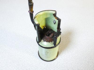 Pipa da oppio in ceramica e metallo. Cina