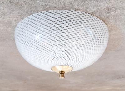 Plafoniera di design Reticello Carlo SCARPA per Venini in vetro e ottone. Italia, Anni 40