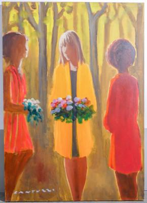 Dipinto in olio su tela firmato Eliano FANTUZZI, (1909 – 1987) Figure. Italia, Novecento