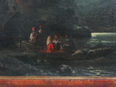 Dipinto a olio recante firma Cesare VIANELLO Marina notturna. Italia, Primo Novecento