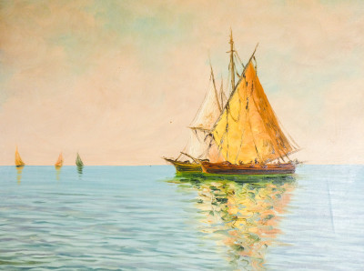 Quadro firmato CURTI raffigurante una Marina con barche a vela. Italia, Novecento