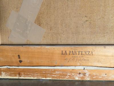 Dipinto a olio firmato Emilio VILLEMAIN La Partenza, Italia, Novecento