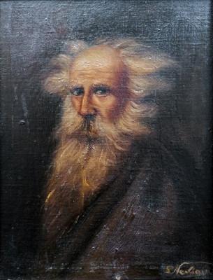 Quadro firmato S. NEVIANI Ritratto di uomo anziano. Olio su tela applicata a tavola. Italia, Novecento