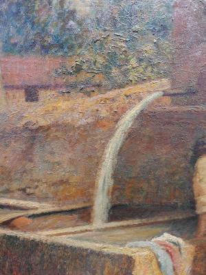 Quadro recante firma G. Rito BACCARINI Lavandaie. Olio su tavola. Italia, Novecento