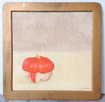 Dipinto a olio firmato Gioxe DE MICHELI Natura morta con zucca Milano, 1976