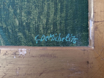 Dipinto a olio firmato Gioxe DE MICHELI Nel Paesaggio Milano, 1976