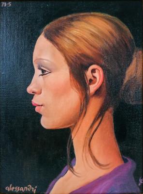Quadro a olio firmato Lorenzo ALESSANDRI (1927-2000) Studio per il primo profilo di Patrizia. Italia, 1971