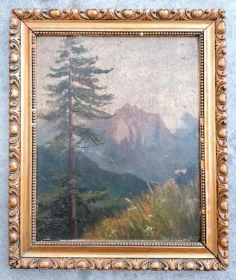 Dipinto a olio su tavola, datato 1915. Paesaggio di montagna. Italia