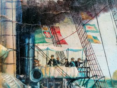 Dipinto a olio a firma Pasquale CAMBIASO La Formidabile a Lissa. Sul retro, restauri realizzati con carta manoscritta dell