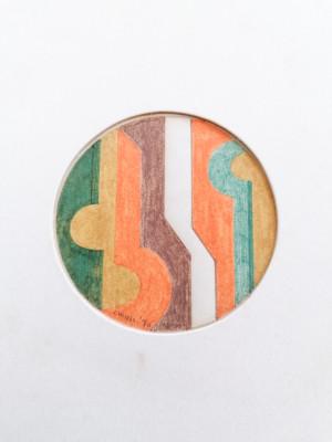 Quadro a firma Peter Anthony CHINNI piccolo tondo realizzato in pastello su carta. 1970