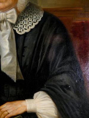 Dipinto a olio Ritratto di anziana nobildonna, in cornice dorata. Italia, Ottocento