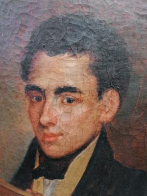 Dipinto in olio su tela. Ritratto di pittore. Italia, Fine Settecento, Primo Ottocento
