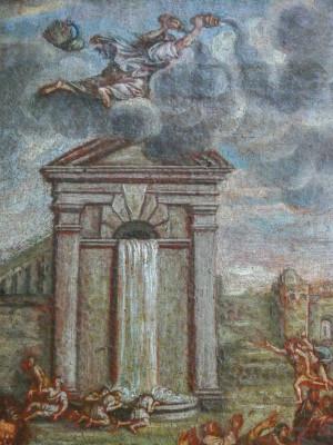 Dipinto a olio di autore anonimo raffigurante una scena classica. Primo Ottocento